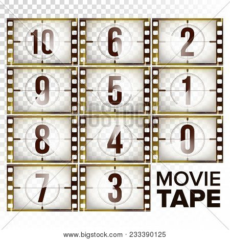 Film Countdown Numbers 10 - 0 Vector. Monochrome Brown Grunge Film Strip. Start Of The Old Film. Iso