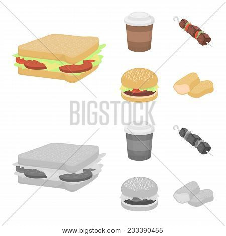 Sandwich, Coffee, Shish Kebab, Burger.fast Food Set Collection Icons In Cartoon, Monochrome Style Ve