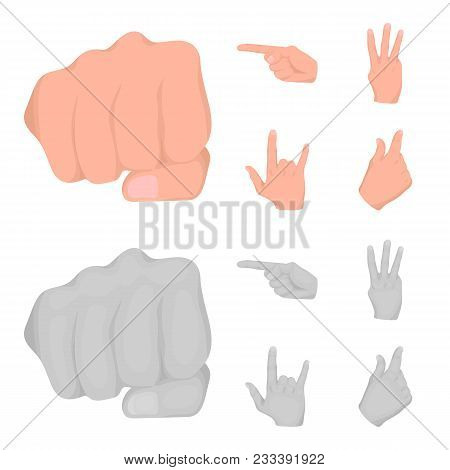 Closed Fist, Index, And Other Gestures. Hand Gestures Set Collection Icons In Cartoon, Monochrome St