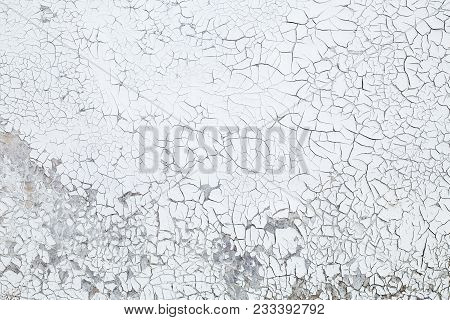 Old Cracked Blue-grey Paint. Abstract Background, Texture