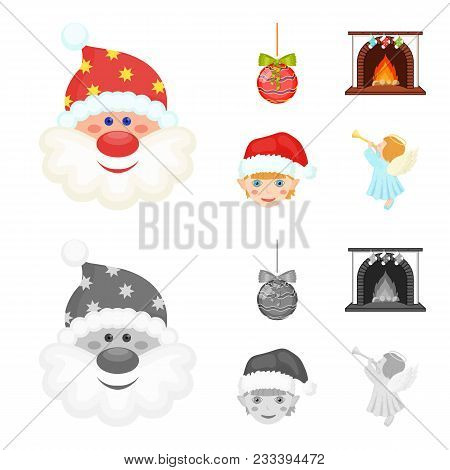 Santa Claus, Dwarf, Fireplace And Decoration Cartoon, Monochrome Icons In Set Collection For Design.