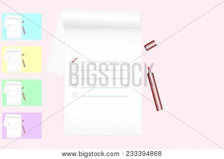 To Do List On Notebook With Red Marker Pen On Pink Colored Background (samples: Blue, Yellow, Green,