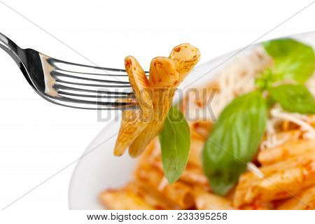 Pasta Penne Penne Pasta Pasta Fork Pasta On Fork Fork With Food Background Isolated