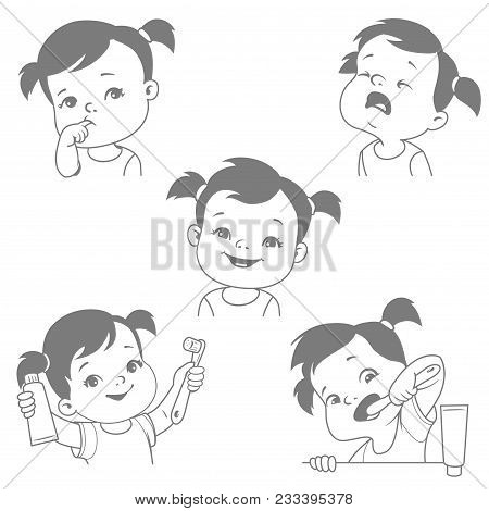 Baby Teeth Set. Little Baby Girl With Tooth Brush And Toothpaste. Teething. Toothache. Baby Crying F