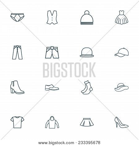 Garment Icons Line Style Set With Vest, Evening Gown, Panama And Other Waistcoat Elements. Isolated