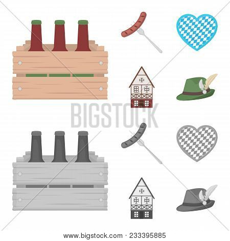 Box With Beer, Fried Sausage, Heart Of The Festival, Bavarian Cottage. Oktoberfest Set Collection Ic