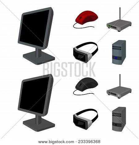 Monitor, Mouse And Other Equipment. Personal Computer Set Collection Icons In Cartoon, Monochrome St