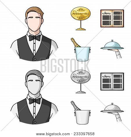 Waiter, Reserve Sign, Menu, Champagne In An Ice Bucket.restaurant Set Collection Icons In Cartoon, M