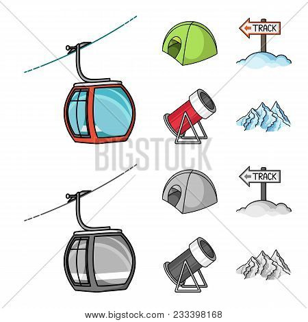 Funicular, Tent, Road Sign, Snow Cannon. Ski Resort Set Collection Icons In Cartoon, Monochrome Styl
