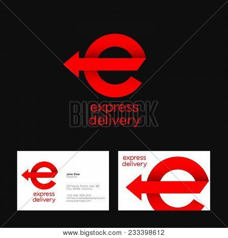 Express Delivery Logo. Red Ribbon Icon. E Monogram With Arrow. Business Card.
