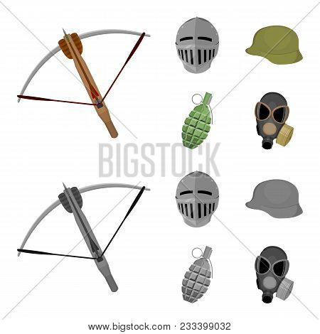 Crossbow, Medieval Helmet, Soldier Helmet, Hand Grenade. Weapons Set Collection Icons In Cartoon, Mo