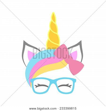 Cute Unicorn Face With Bow And Sunglasses. Unicorn Head. Vector