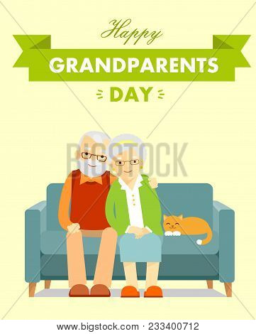 Greeting Card With Grandmother And Grandfather Elderly Couple