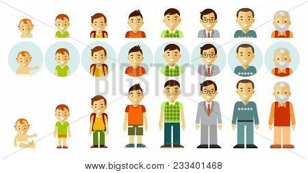Man Aging - Baby, Child, Teenager, Young, Adult, Old. Full Length And Avatars. Vector Illustration I