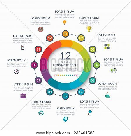 Infographic Circle. 12 Options, Steps, Parts. Business Concept For Diagram, Graph, Chart. Vector Tem