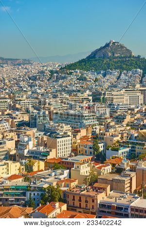View of Athens with Mount Lycabettus, Greece
