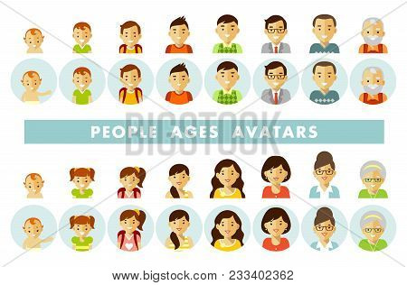 Man And Woman Aging Icons - Baby, Child, Teenager, Young, Adult, Old. Vector Illustration In Flat St