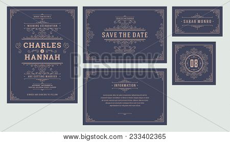 Set Wedding Flourishes Ornaments Invitations Cards. Invite, Save The Date, Table Number And Informat