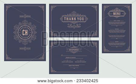 Set Wedding Flourishes Ornaments Invitations Cards. Invite, Thank You, Rvsp And Menu Design. Vintage