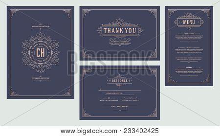 Set Wedding Flourishes Ornaments Invitations Cards. Invite, Thank You, Rvsp And Menu Design. Vintage