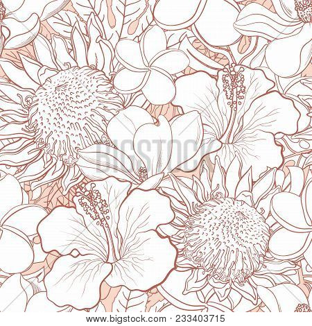 Tropical Flowers Seamless Pattern - White Hand Drawn Exotic Blooms Of Hibiscus, Protea, Magnolia And