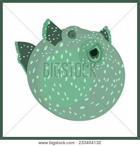 Vector Flat Illustration With Balloonfish. Sea Life.