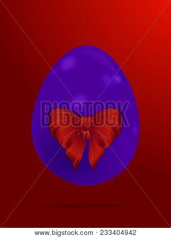 3d Illustration Of A Purple Easter Egg With Red Big Bow And Shadow Over Red Gradient Backgrounds