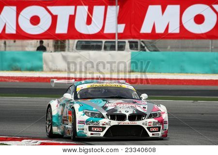 SEPANG - JUNE 18: The 'GSR&Studie with TeamUKYO' BMW Z4 car puts in some practice laps in the Sepang International Circuit during the Japan SUPER GT Round 3 on June 18, 2011 in Sepang, Malaysia.