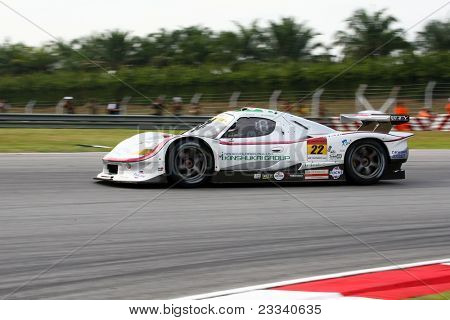 SEPANG, MALAYSIA - JUNE 18: The Vemac 320R car of R'Qs Motorsports puts in some practice laps in the Sepang International Circuit at the Japan SUPER GT Round 3 on June 18, 2011 in Sepang, Malaysia.