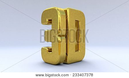 Illustration Large Three-dimensional Logo On A White Isolated Matte Background. Shiny Gold. 3d Logo.