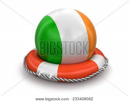 3d Illustration. Ball With Irish Flag On Lifebuoy. Image With Clipping Path