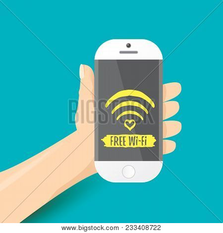 Hand Holding White Smart Phone With Free Wi-fi Sign On Touch Screen Isolated On Azure Background. Ve