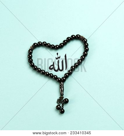 Muslim Prayer Beads. Islam Tasbeeh For Glorification Of Allah In Love