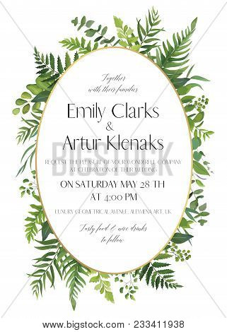 Wedding Floral Invitation, Invite Card. Vector Watercolor Style Elegant Design With Natural, Botanic