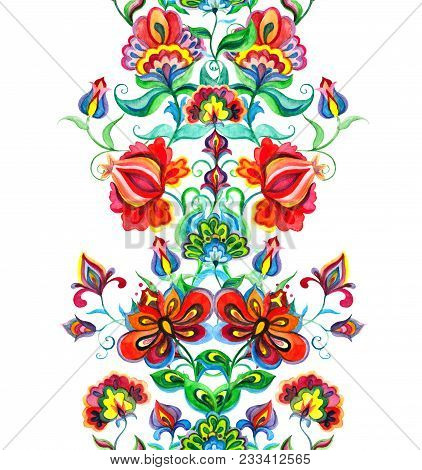 Whimsical Folk Art Ornament - Seamless Floral Border With Fairy Flowers. Watercolor