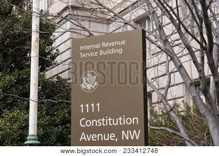 Washington, Dc - March 14, 2018: Internal Revenue Service Sign At The Irs Building In Washington, Dc