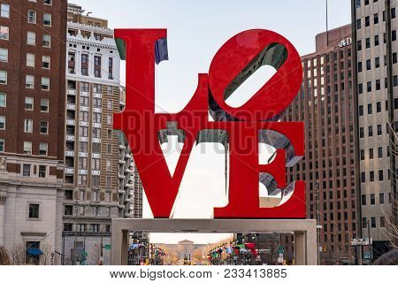 Philadelphia, Pa - March 10, 2018: Newly Restored Love Sculpture In Love Park In Philadelphia, Penns