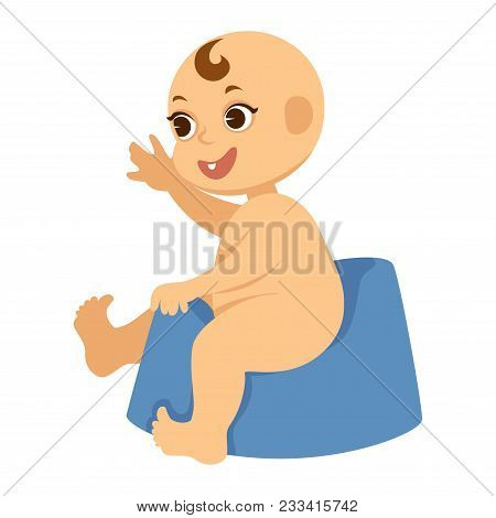 Naked Young Baby Boy With One Tooth On Blue Plastic Potty. Adorable Little Kid With Small Curly Fore