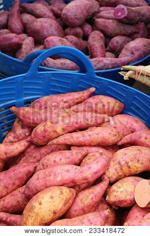 Fresh Yam In The Market For Cooking