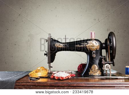Retro Machine Sew Sewing Background Nobody Design