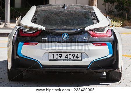 Busan, Republic Of Korea - March 17, 2018: White I8 Plug-in Hybrid Sports Car Developed By Bmw, Rear