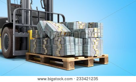 Stack Of Dollar Money Bills On Wooden Pallet With A Forklift Loader 3d Render On A Blue Background