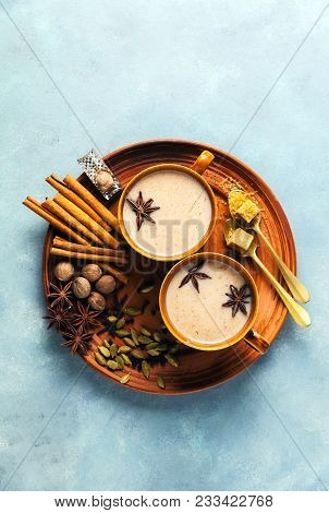 Masala Tea Chai Latte Traditional Hot Indian Teatime Ceremony Sweet Milk With Spices, Herbs Organic