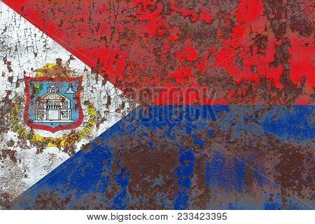 Sint Maarten Grunge Flag, Netherlands Dependent Territory Flag