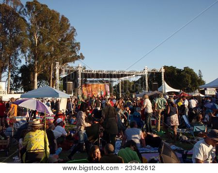 People Hangout By Stage Watching A Music Act