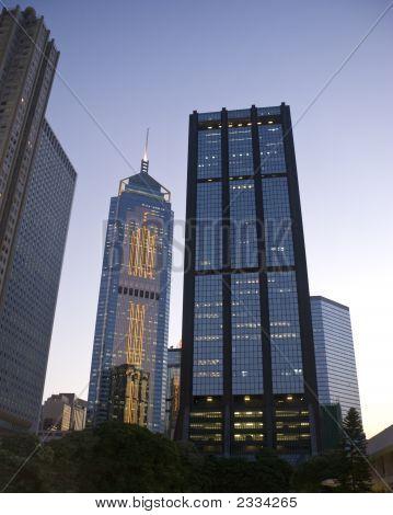 Hong Kong Office Buildings Evening