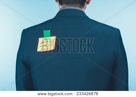 Back View Of Businessman In Suit With Note With April Fools Day Lettering On Back, April Fools Day C