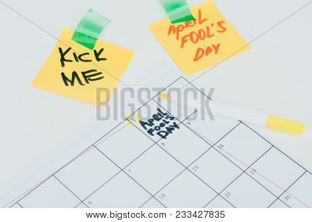 Close Up View Of Calendar With April Fools Day Lettering Isolated On Grey Surface, April Fools Day H