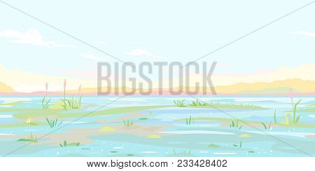 River Flood Waters Background In Pastel Colors, Tileable Horizontally
