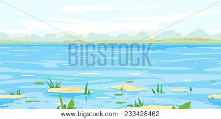 Spring Flood Waters In River With Small Sandy Islands And Plants, Tileable Horizontally